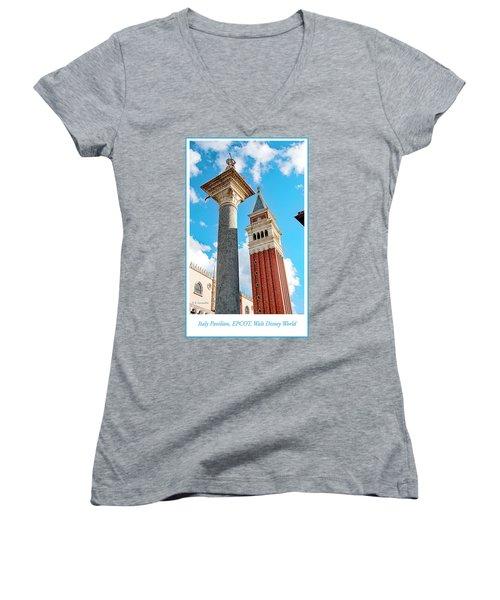 Italy Pavilion, Epcot, Walt Disney World Women's V-Neck T-Shirt