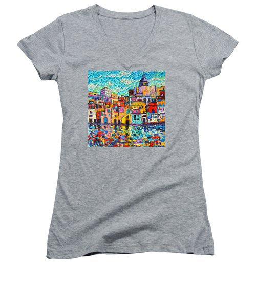 Italy Procida Island Marina Corricella Naples Bay Palette Knife Oil Painting By Ana Maria Edulescu Women's V-Neck T-Shirt