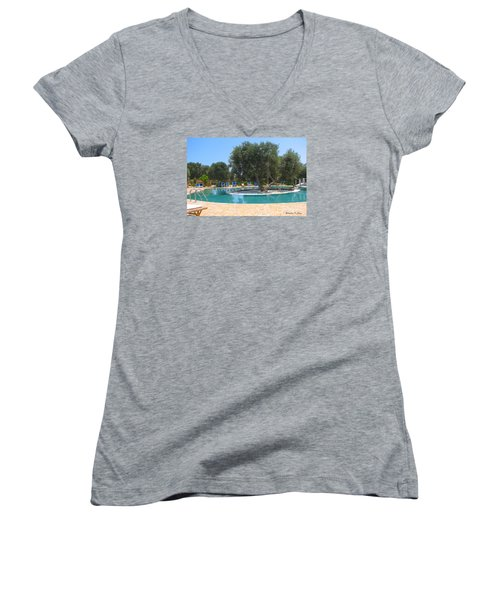 Italy Resort- Olive Tree In Pool Women's V-Neck (Athletic Fit)