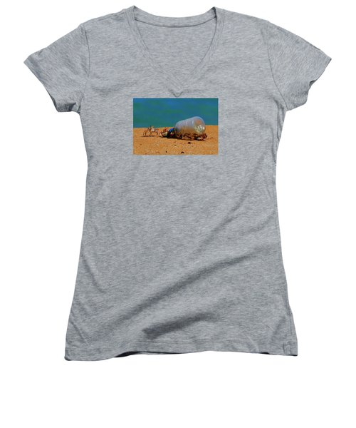 Women's V-Neck T-Shirt (Junior Cut) featuring the photograph It's 5 O'clock Somewere by James McAdams