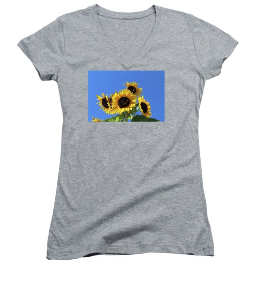 It's A Blue Sky Day Women's V-Neck T-Shirt