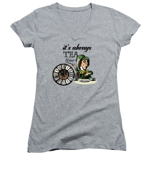 It's Always Tea Time Mad Hatter Dictionary Art Women's V-Neck T-Shirt (Junior Cut) by Jacob Kuch