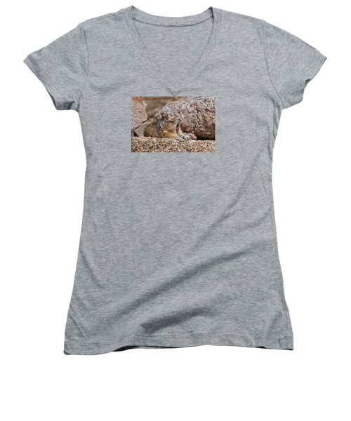Women's V-Neck T-Shirt (Junior Cut) featuring the photograph It's Been A Long Day by Gary Lengyel