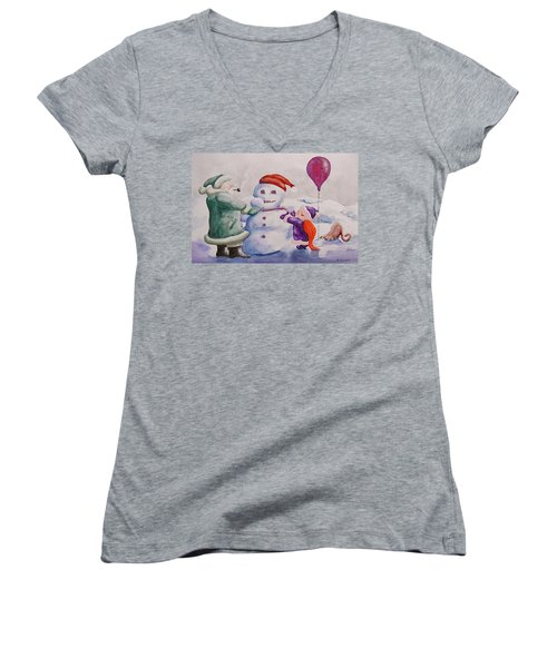 It's Cold Grandpa Women's V-Neck (Athletic Fit)
