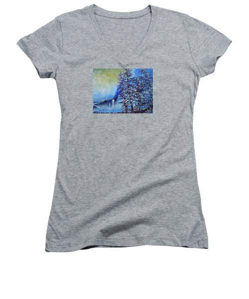 Women's V-Neck T-Shirt (Junior Cut) featuring the painting It's Cold Out by Dan Whittemore