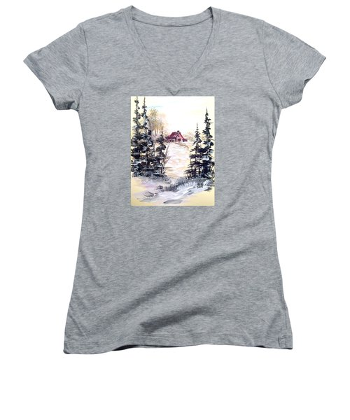 Women's V-Neck T-Shirt (Junior Cut) featuring the painting It's Winter - 2 by Dorothy Maier