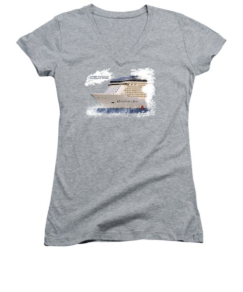 I've Been Nauticle On Quantum Of The Seas On Transparent Background Women's V-Neck T-Shirt (Junior Cut) by Terri Waters