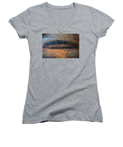 Jack Daniels Oak Barrel Women's V-Neck (Athletic Fit)
