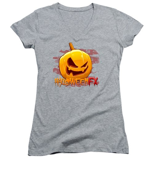 Jack O Lanterns Women's V-Neck T-Shirt (Junior Cut) by Sheila Mcdonald
