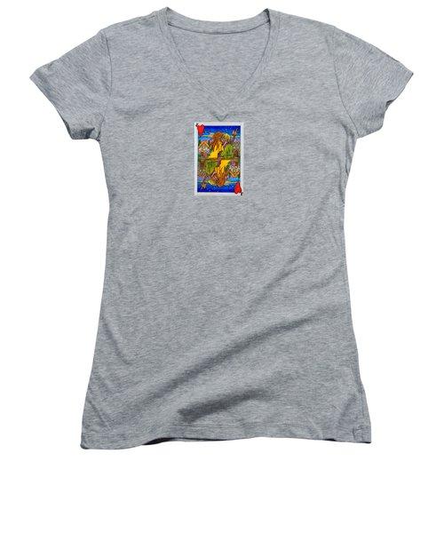 Jack Of Hearts Women's V-Neck T-Shirt (Junior Cut) by Matt Konar