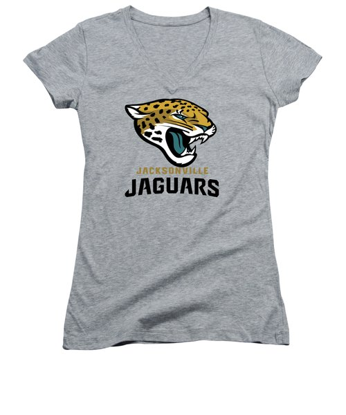 Jacksonville Jaguars On An Abraded Steel Texture Women's V-Neck (Athletic Fit)