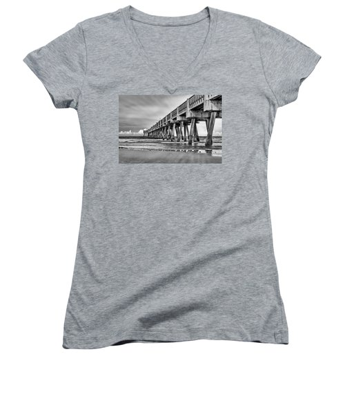 Jacksonville Beach Pier In Black And White Women's V-Neck (Athletic Fit)
