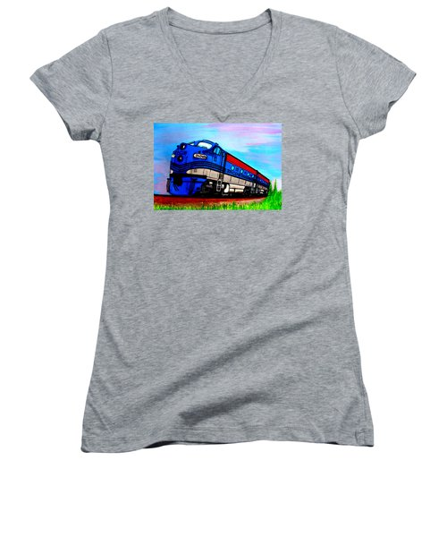 Women's V-Neck T-Shirt (Junior Cut) featuring the painting Jacob The Train by Pjohn Artman