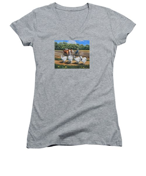 Jacobs Plowing And Light Bramah Chickens Women's V-Neck T-Shirt (Junior Cut) by Ruanna Sion Shadd a'Dann'l Yoder