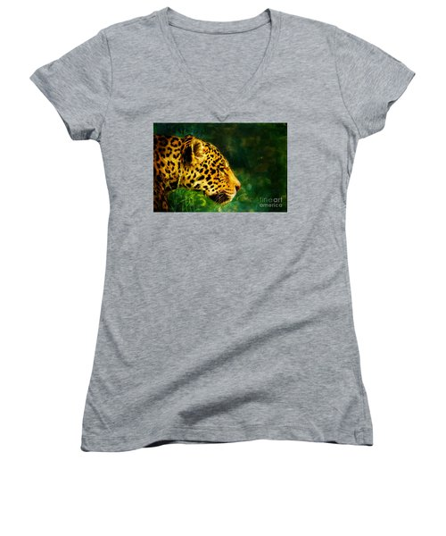 Jaguar In The Grass Women's V-Neck