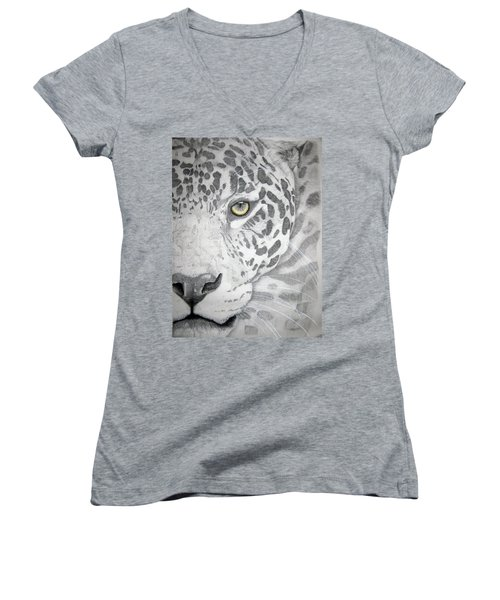 Women's V-Neck T-Shirt (Junior Cut) featuring the drawing Jaguar by Mayhem Mediums