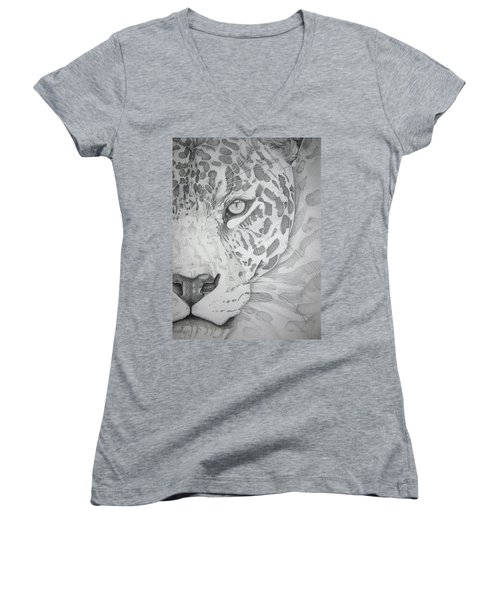 Jaguar Pointillism Women's V-Neck T-Shirt (Junior Cut) by Mayhem Mediums