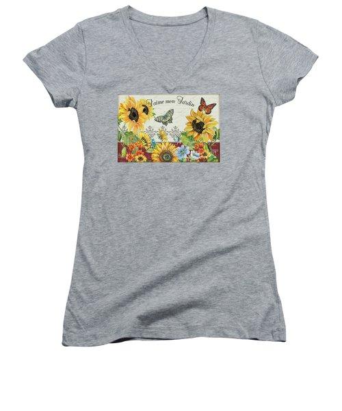 Women's V-Neck T-Shirt (Junior Cut) featuring the painting Jaime Mon Jardin-jp3990 by Jean Plout