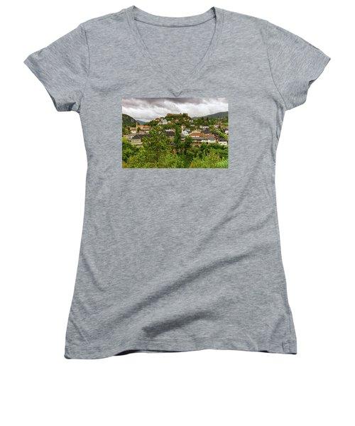 Jajce, Bosnia And Herzegovina Women's V-Neck T-Shirt (Junior Cut) by Elenarts - Elena Duvernay photo