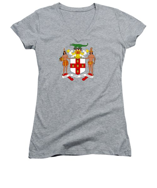 Women's V-Neck T-Shirt (Junior Cut) featuring the drawing Jamaica Coat Of Arms by Movie Poster Prints