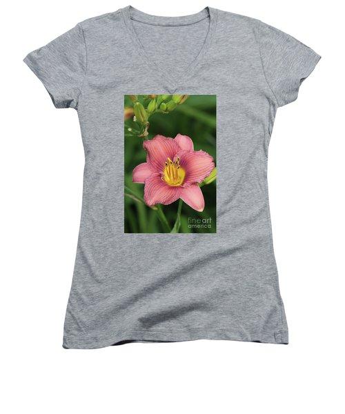 Jamaica Sunrise Daylily Women's V-Neck T-Shirt
