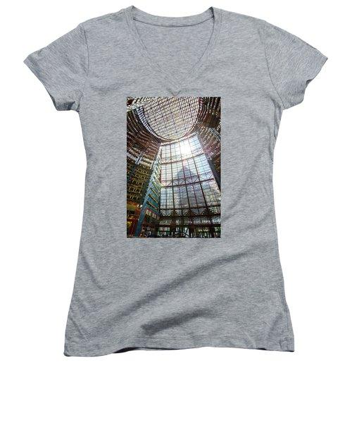Women's V-Neck T-Shirt (Junior Cut) featuring the photograph James R Thompson Center Interior II Chicago by Deborah Smolinske