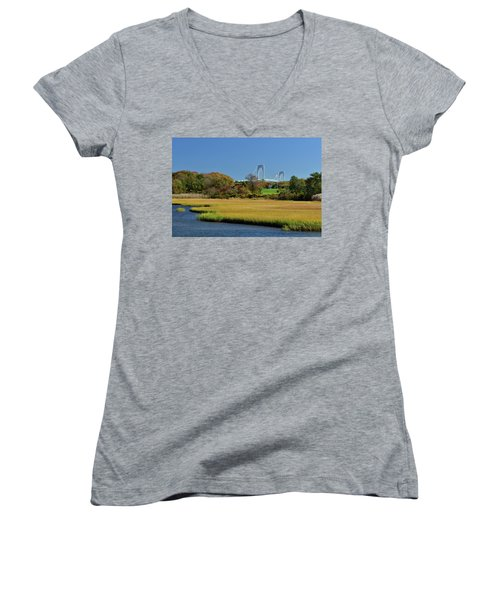 Jamestown Marsh With Pell Bridge Women's V-Neck