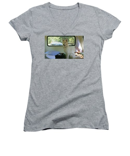 Jane Riding In The Bus Camping At Cape Lookout Women's V-Neck T-Shirt