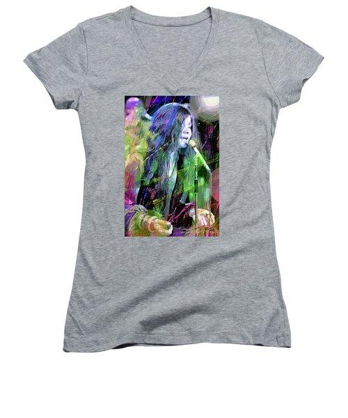 Janis Joplin Blue Women's V-Neck