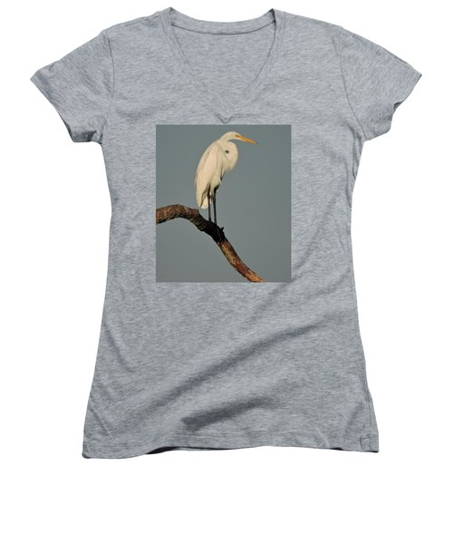 Women's V-Neck T-Shirt (Junior Cut) featuring the photograph January Egret by Peg Toliver