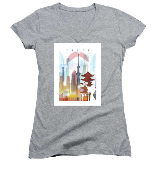 Japan Tokyo 2 Women's V-Neck T-Shirt (Junior Cut) by Unique Drawing