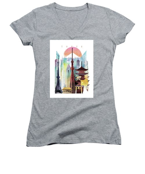 Japan Tokyo Women's V-Neck T-Shirt (Junior Cut) by Unique Drawing
