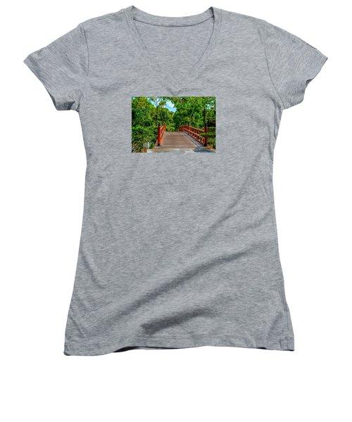 Japanese Bridge  Women's V-Neck T-Shirt (Junior Cut) by Louis Ferreira