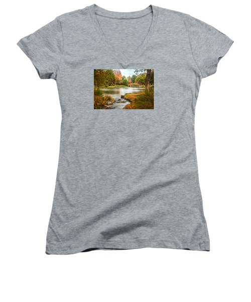 Women's V-Neck featuring the photograph Japanese Garden Bridge Fall by David Coblitz