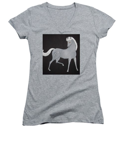 Japanese Horse 2 Women's V-Neck T-Shirt (Junior Cut) by Stephanie Moore