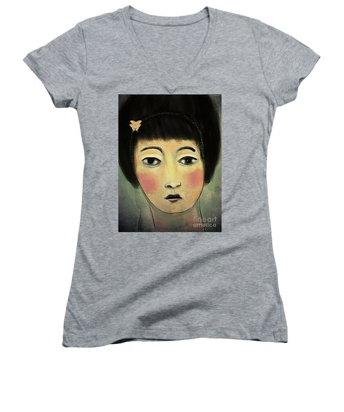 Japanese Woman With Butterflies Women's V-Neck T-Shirt (Junior Cut) by Alexis Rotella