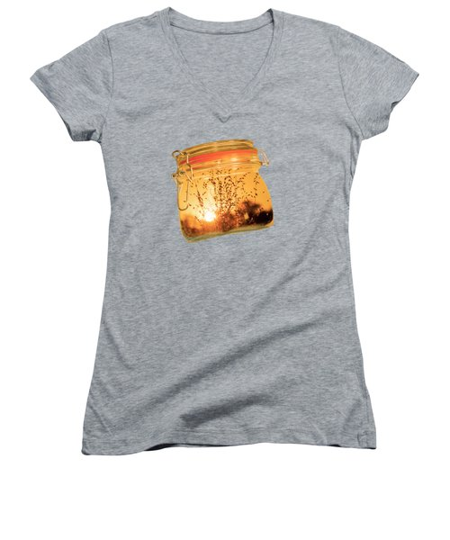 Women's V-Neck T-Shirt (Junior Cut) featuring the photograph Jar Full Of Sunshine by Linda Lees