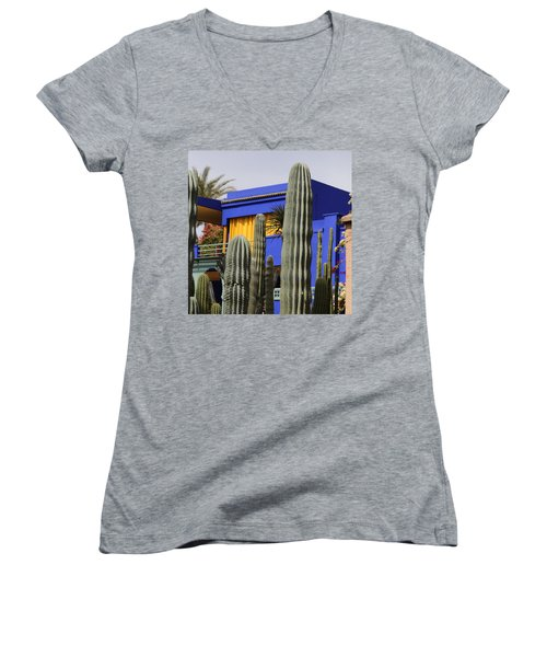 Women's V-Neck T-Shirt (Junior Cut) featuring the photograph Jardin Majorelle 5 by Andrew Fare