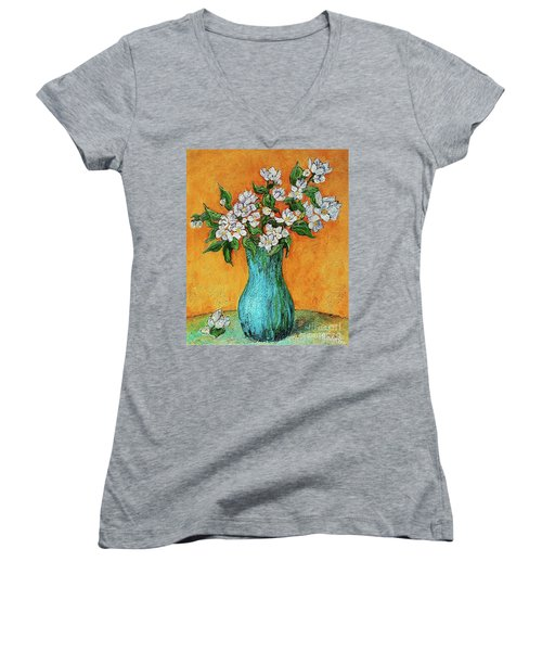 Jasmine Flowers In A Blue Pot Women's V-Neck (Athletic Fit)
