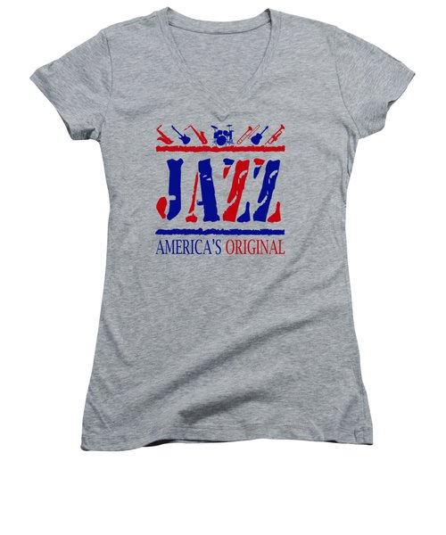 Jazz Americas Original Women's V-Neck T-Shirt (Junior Cut) by David G Paul