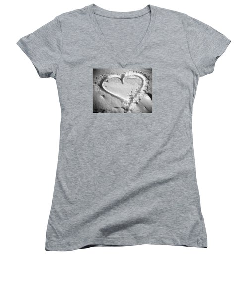 Winter Heart Women's V-Neck T-Shirt (Junior Cut) by Juergen Weiss