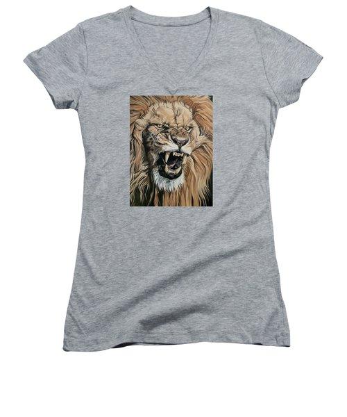 Jealous Roar Women's V-Neck T-Shirt (Junior Cut) by Nathan Rhoads