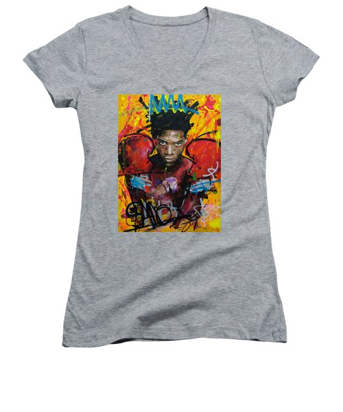 Jean-michel Basquiat Women's V-Neck T-Shirt (Junior Cut) by Richard Day
