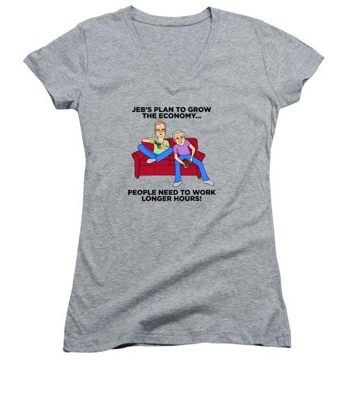 Jeb Bush Women's V-Neck T-Shirt (Junior Cut) by Sean Corcoran