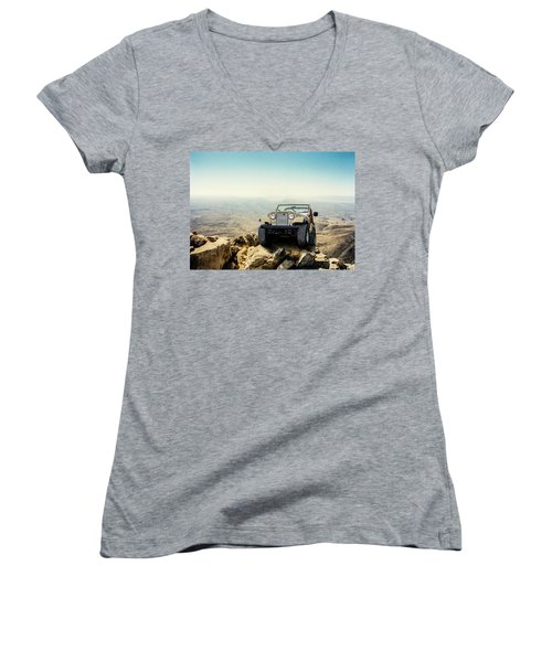 Jeep On A Mountain Women's V-Neck