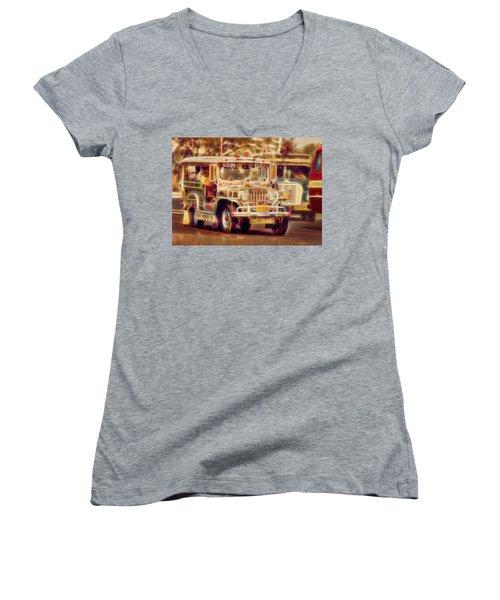 Jeepney Manila Women's V-Neck T-Shirt (Junior Cut) by David French