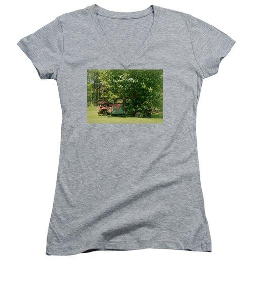 Women's V-Neck T-Shirt (Junior Cut) featuring the photograph Jeferson Landing Series No.2 by Laura DAddona