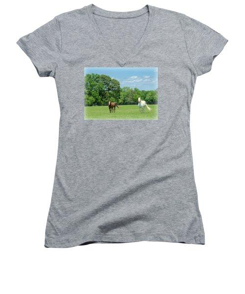 Women's V-Neck T-Shirt (Junior Cut) featuring the photograph Jefferson Landing Series No. 3 by Laura DAddona