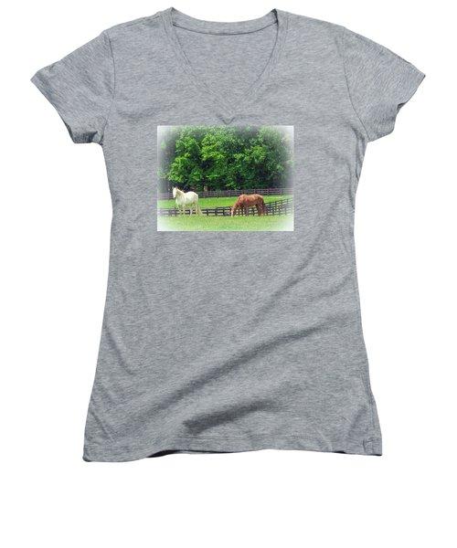 Women's V-Neck T-Shirt (Junior Cut) featuring the photograph Jefferson Landing Series No. 5 by Laura DAddona