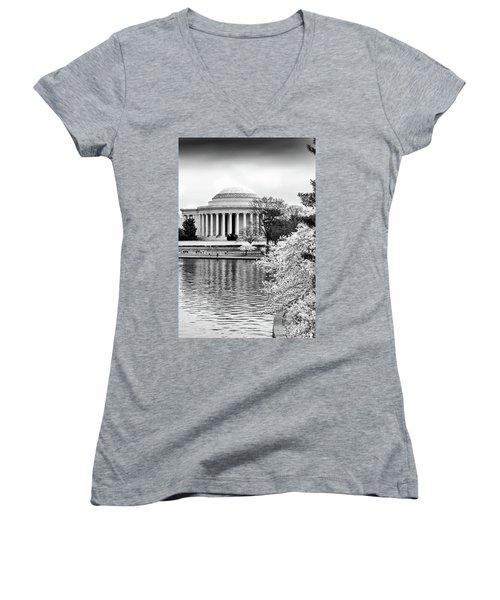 Jefferson Memorial Cherry Blosum Time Women's V-Neck T-Shirt (Junior Cut) by Paul Seymour